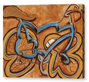Cool Blue Ten Speed Bike with Water Bottle Canvas Art Print For Sale By Artist