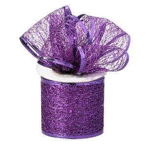 Decorative Tulle Glitter Sheer Wired Ribbon Roll 2.5 inch x 10 Yard, Purple