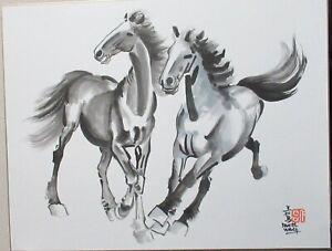 DANIEL WANG CHINESE ORIGINAL WATERCOLOR HORSE PAINTING SIGNED