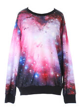 ty-ys-1005 Corazón Galaxy estrellas Sky UNIVERSO Fantasía Jersey Sudadera FUCSIA