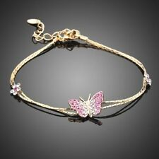 Elegant Sparkling Pink Butterfly Austrian Crystal Gold Plated Bracelet Bangle