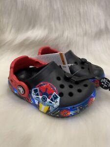 NEW CROCS Crocband Star Wars Light Up Kid's C6  Shoes NWT Darth Vader Saber