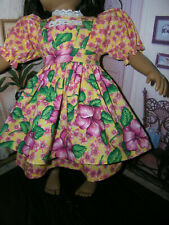 "Flower Dress Hibscus Print Apron 2 piece Dress 23"" Doll clothes fits My Twinn"