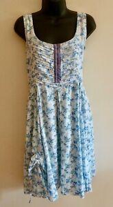Dress, Joe Brown, white & blue floral pattern, cotton, sleeveless, size 16
