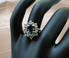 Vintage Size 7 Simulated Diamond & Blue Sapphire Platinum Coated Prong Set Ring