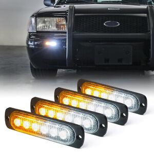 4PC LED Strobe Light Bar Mini Car Trucks Emergency Hazard Warning Flashing Strip