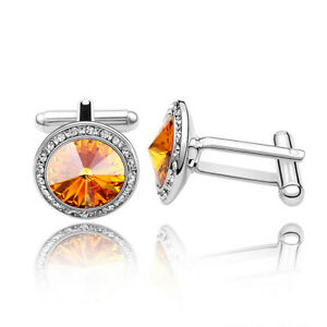 New Jewelry Amber Silver Shirt Wedding Party Shirt Cufflinks Novelty Cuff Links
