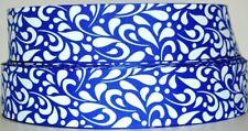 "Grosgrain Ribbon 1.5"" Electric Blue & White Floral Swirls Pattern Printed."