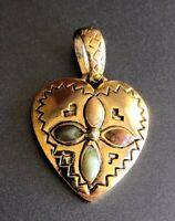 Vintage Puffy Gold Tone Heart & Enamel Flower Design Pendant