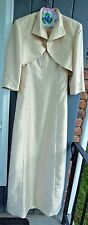 Talbots 2PC Gold Beaded Faux Silk Formal Long Evening Dress 8 Bridesmaid Outfit