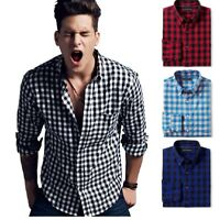 Mens Plaid Casual Button Down Shirts Slim Fit Check Shirt Long Sleeve CK01