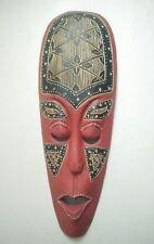 Vintage antique  Wooden mask Tribal Hand Made Red Black Hand Carved Large