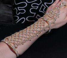 Long Slave Glove Austrian Rhinestone Crystal Bracelet W/ Ring Bangle B88g Gold