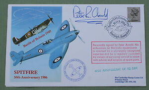 SPITFIRE 50TH ANNIVERSARY BATTLE OF BRITAIN COVER SIGNED BY PETER ARNOLD