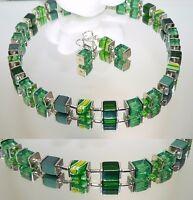 Schmuckset Würfelkette Ohrringe Perlen Glas Millefiori grün hellgrün silber 092L