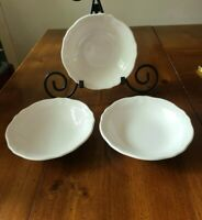 """Set of 3 Vintage Federalist Ironstone 6.75"""" Coupe Cereal Bowls #4238 White"""