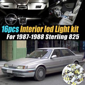 16Pc Super White Car Interior LED Light Bulb Kit for 1987-1988 Sterling 825
