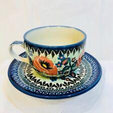 Boleslawiec Unikat Polish Pottery Teacup & Saucer Andrukiewicz 1274 Poland