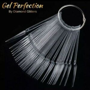 50pc Clear Stiletto Nail Swatches Sticks Fan-shaped Nail, Gel Polish Acrylic