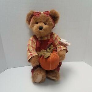 "Boyds Bears Penelope P Punkinbeary Jointed Plush 14"" Teddy Bear w/ Pumpkin Fall"