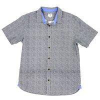 Jack O'Neill Playa Short Sleeve Button Down Shirt Mens Medium Navy Blue Print