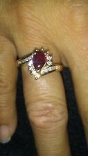 EMA 14K Yellow Gold 1/2 carat Ruby and approx 0.27 tcw Diamonds Ring Size 6.5