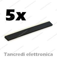 5x Connettore a striscia femmina da circuito stampato 40 poli passo 2,54 arduino
