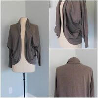 GENTLE FAWN ~ Small Knit Cocoon Cardigan POCKETS Brown Gray