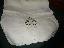 """#914Aa vtg table runner Linen cut embroidered ecru 34"""" x 14 1/2"""""""