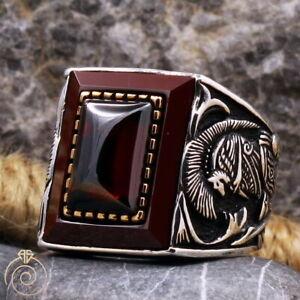 Men's Ruby Rectangle Stone Ring Byzantine Symbol Jewelry Fantasy Armor Silver