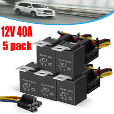 5Pcs 12V SPDT Car Automotive Relay 5-Pin 5 Wires+Harness Socket JD1914 30/40 Amp
