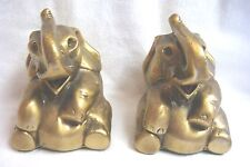 Vintage BRASS ELEPHANT BOOKENDS