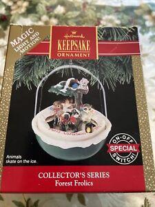 Hallmark Keepsake Forest Frolics Skating  Magic Light & Motion Ornament 1991