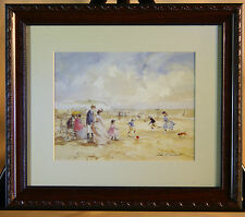 Family outing at the Seaside - Framed Print