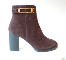new $775 TODS Tod's brown suede gold buckle logo zipper ANKLE BOOTS shoes 38 8