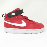 Nike Boys Court Borough Mid 2 CD7783-600 Red Running Shoes Lace Up Size 2.5Y