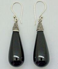 BLACK ONYX DROP Gemstone Dangle Hook Earrings in 925 Sterling Silver