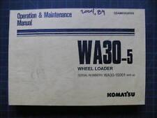 Komatsu WA30-5 Wheel Loader Owner Operation/Maintenance Operator Manual book OEM