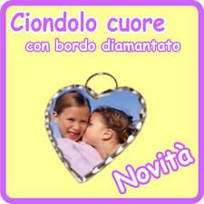 CIONDOLO CUORE DIAMANTATO personalizzato con FOTO!!!!