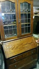 Antique Oak Bureau leaded glass Bookcase