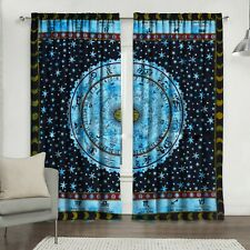 Astrology Blue Color Wall Hanging Door Window Curtain Tapestry Drape Valance Art