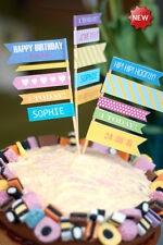 PERSONALISED 1ST 18TH 21ST 30TH 40TH CAKE TOPPER FLAGS BIRTHDAY ANNIVERSARY