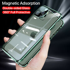 For iPhone 11 Pro Max XS XR X Square Metal Glass Mangetic Adsorption Case Cover