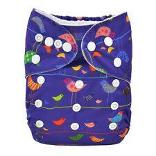 Alva Reusable Washable Baby Cloth Diaper AIO Nappy +1 Sewed in Insert cute birds