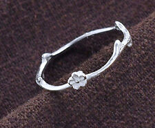 925 Sterling Silver Twig Ring with Flower  Size 8 US