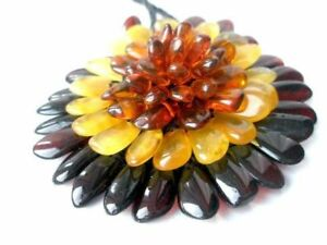 NATURAL BALTIC AMBER LADY NECKLACE / PENDANT / BROCH ,, FLOWER ''