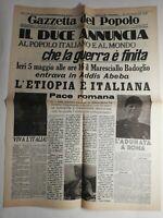 N233 La Une Du Journal Gazzetta del popolo 6 Maggio 1936 il duce annuncia
