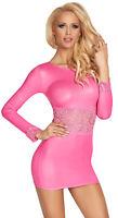 Langarm Wetlook-Kleid mit Spitze Gr. S-XL, Minikleid Clubwear Partykleid pink