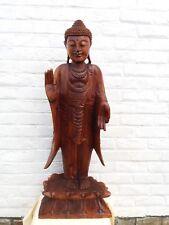 Bouddha debout en bois- 1 m -  Mantra de l'argumentation - fendu à la base