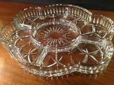 Laura Glass International Tiffany OVAL 5 Section Crystal Serving Dish New
